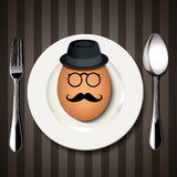 Vector Single Hipster Egg on a White Plate with Spoon and Fork o Royalty Free Stock Photography