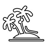 Vector single palm tree silhouette icon isolated Stock Photo