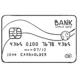 Vector Single Sketch Bank Credit Card. On White Background royalty free illustration
