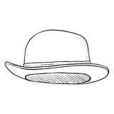 Vector Single Sketch Bowler Hat Royalty Free Stock Images