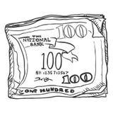Vector Single Sketch Bundle of Money Royalty Free Stock Image