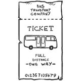 Vector Single Sketch Bus Ticket. On White Background Stock Photos