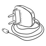 Vector Single Sketch Charger for Mobile Phones Stock Images