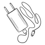 Vector Single Sketch Charger for Mobile Phones Stock Image