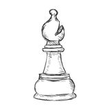 Vector Single Sketch Chess Figure - Bishop. On White Background Stock Photo