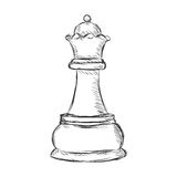 Vector Single Sketch Chess Figure - Queen. On White Background Stock Photos