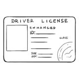 Vector Single Sketch Drivers Licence Royalty Free Stock Image