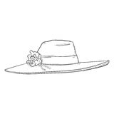 Vector Single Sketch Elegance Women Hat. On White Background Royalty Free Stock Photos
