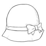 Vector Single Sketch Elegance Women Hat Royalty Free Stock Photos