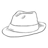 Vector Single Sketch Fedora Hat. On White Background vector illustration