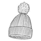 Vector Single Sketch Hat with Pompom. Vector Single Sketch Knitted Winter Cap with Pompom Royalty Free Stock Image