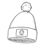 Vector Single Sketch Hat with Pompom. Vector Single Sketch Textile Cap with Pompom. Front View Royalty Free Stock Photography