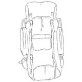 Vector Single Sketch Hiking Backpack. Royalty Free Stock Photos