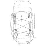 Vector Single Sketch Hiking Backpack. Stock Photography
