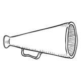 Vector Single Sketch Illustration - Loudspeaker on Isolated White Background. Megaphone Outline Icon vector illustration