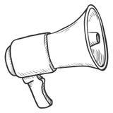 Vector Single Sketch Illustration - Loudspeaker on Isolated White Background. Megaphone Outline Icon stock illustration