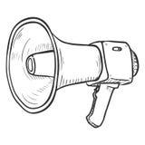 Vector Single Sketch Illustration - Loudspeaker on Isolated White Background. Megaphone Outline Icon royalty free illustration
