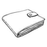 Vector Single Sketch Leather Wallet Stock Photos