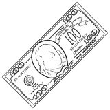 Vector Single Sketch One Hundred Dollars Banknote. On White Background Royalty Free Stock Photography