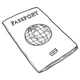 Vector Single Sketch Passport Stock Images