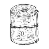 Vector Single Sketch Scroll of Banknotes Stock Photos