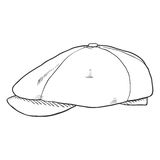 Vector Single Sketch Tweed Retro Cap Royalty Free Stock Photography