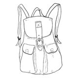 Vector Single Sketch Women Fashion Backpack. Stock Photography