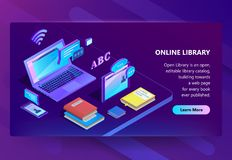Vector site with online library, e-learning portal. Vector 3d isometric template for site construction. Online library with violet laptop, books. Ultraviolet stock illustration