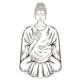 Vector Sitting Buddha in Lotus pose, teaching Buddhism, tattoo a Royalty Free Stock Photography