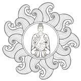 Vector Sitting Buddha in Lotus pose, in waves mandala, teaching Stock Image