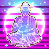 Vector sitting Buddha over the vibrant galaxy background. Modern and bright artwork composition. Religion, Buddhism, boho, spirit. Vector sitting Buddha over vector illustration