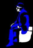 Vector sitting elderly man silhouette Stock Photo