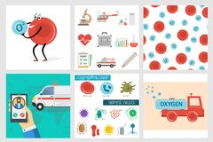 Vector six square medical banners in flat style. Vector six square medical banners, helpful and harmful cells, set of flat icons, cartoon truck erythrocyte stock illustration