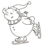 Vector skating snowman. Stock Photos