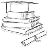 Vector Sketch Academic Hat on Stack of Books and Diploma Royalty Free Stock Images