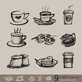 Vector sketch of accessory coffee create Stock Photography
