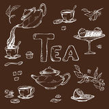 Vector sketch against a dark background of items for the tea ceremony. Teapot and cups, candy, lemon on saucer. Vector sketch against a dark background of items Royalty Free Stock Image