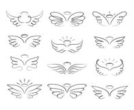 Vector sketch angel wings in cartoon style isolated on white background. Cartoon wings element line illustration royalty free illustration
