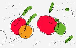 Vector sketch of apples in eclectic style. Light thin lines and curls with colored accents on apple. Use as icon sticker. Sketch stencil kitchen design on royalty free illustration