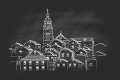 Vector sketch of architecture of Korcula Royalty Free Stock Photography