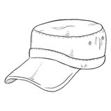 Vector Sketch Army Cap. Military Head Gear Royalty Free Stock Photo