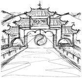 Vector Sketch background with china Stock Image