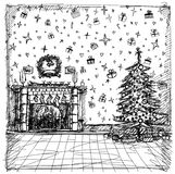 Vector Sketch background with Christmas Stock Image