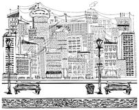Vector Sketch background with city Stock Images