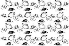 Vector sketch background cup cakes and tea Royalty Free Stock Photo