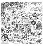 Vector sketch background with winter fun. Snow board, snowball fight, snowman, christmas, new year, hockey, skating, sledge royalty free illustration