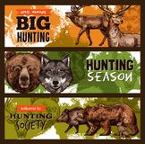 Vector sketch banner for wild animals hunting club. Hunting club or wild animals open season sketch banners design template. Vector hunt prey of elk or deer and Stock Images