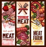 Vector sketch banners for meat farm products Royalty Free Stock Photos
