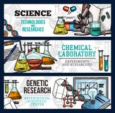 Vector sketch banners for science and research. Science technology and scientific research sketch banners. Vector design of genetics DNA and molecules, chemical Stock Photos
