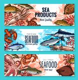 Vector sketch banners for seafood fish food market Royalty Free Stock Photography